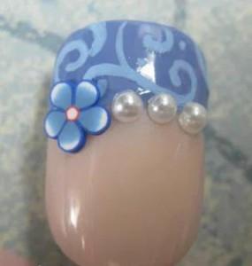 """Дизайн ногтей """"Синие водовороты и жемчуг"""""""